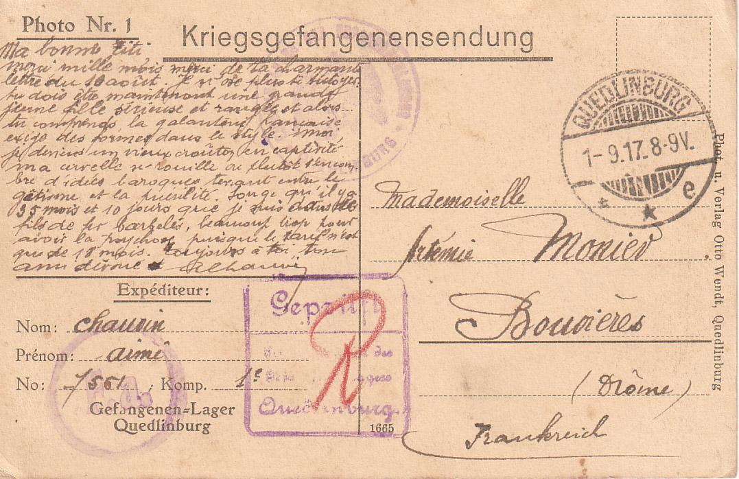 Exemple de carte écrite par un prisonnier